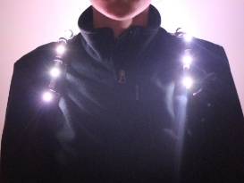 Front view - manually set the lights to a white colour to use as a hands-free torch.