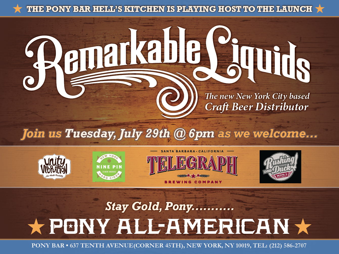 Rushing Duck is headed to the city!! Come celebrate our launch Tuesday 7/29/14 at Pony Bar in Hell's Kitchen starting at 6pm!