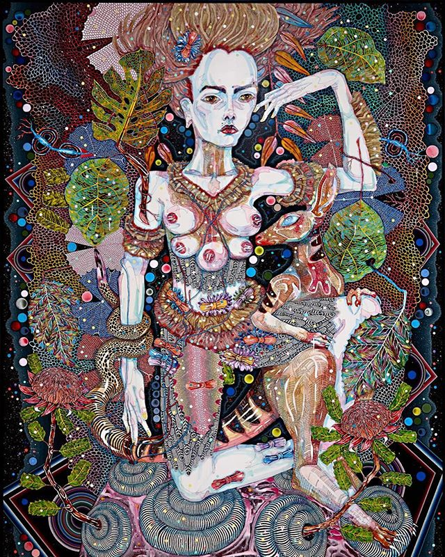 Australian artist Del Kathryn Barton — 'of pink planets' (2014) Now Showing at @ngvmelbourne #art #ngv #australianart #klimt #framing #art #illustration #drawing #draw #picture #artist #sketch #sketchbook #paper #pen #pencil #artsy #instaart #beautiful #instagood #gallery #masterpiece #creative #photooftheday #instaartist #graphic #graphics #artoftheday