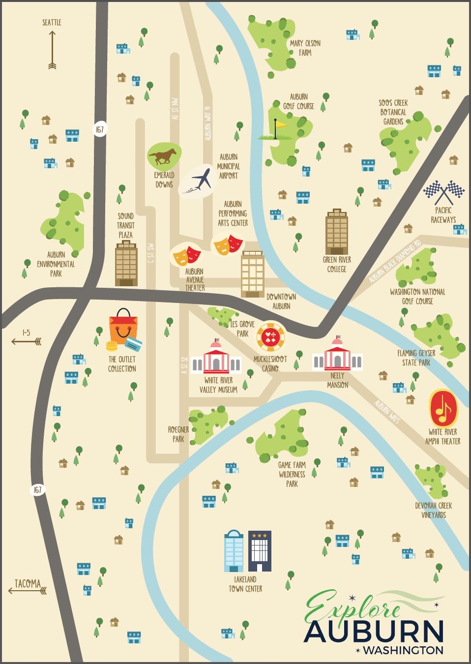 EXPLORE AUBURN  Auburn Tourism map concept