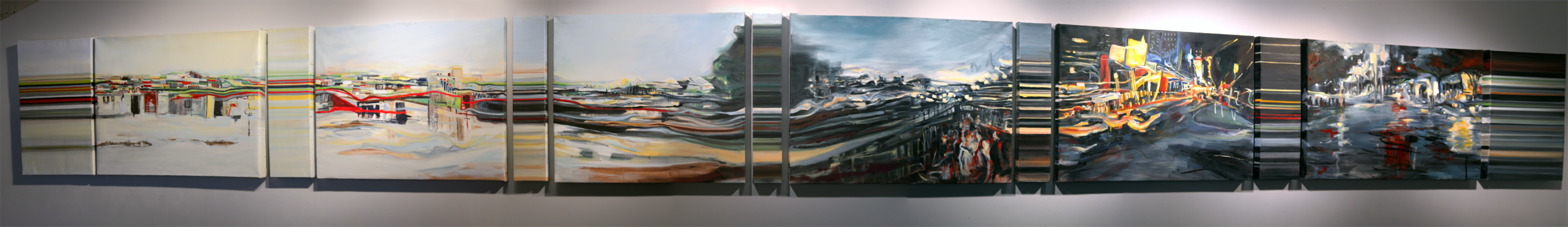 Universal Traveler.  3 feet x 27 feet | Oil on Canvas 2010 | 13 canvas pieces | SOLD