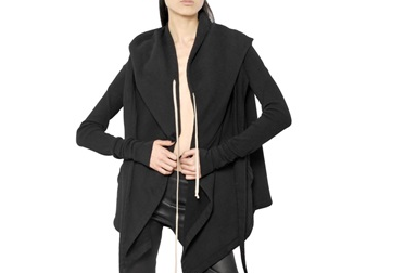 RICK OWENS DRKSHDW HOODED COTTON FLEECE $694