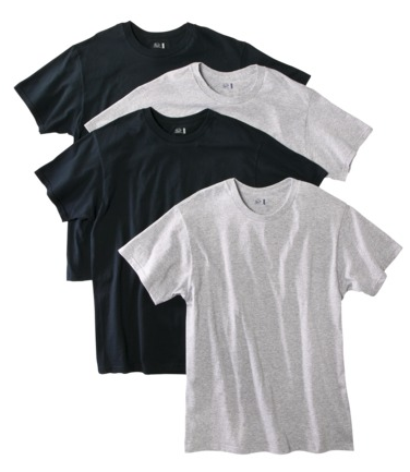 Fruit of the Loom 4 Pack Black & Grey Tees $12.99