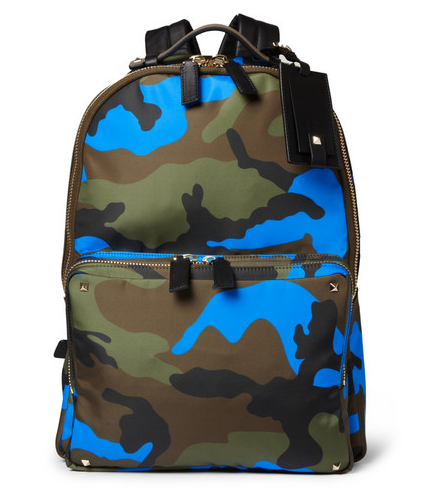 VALENTINO CAMOUFLAGE-PRINT LEATHER AND CANVAS BACKPACK $1,695