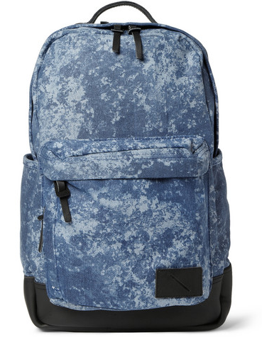 SATURDAYS SURF NYC GREG PRINTED COTTON-CANVAS AND LEATHER BACKPACK $125