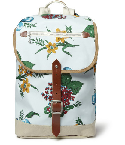 JUNYA WATANABE LEATHER-TRIMMED FLOWER-PRINT CANVAS BACKPACK $675