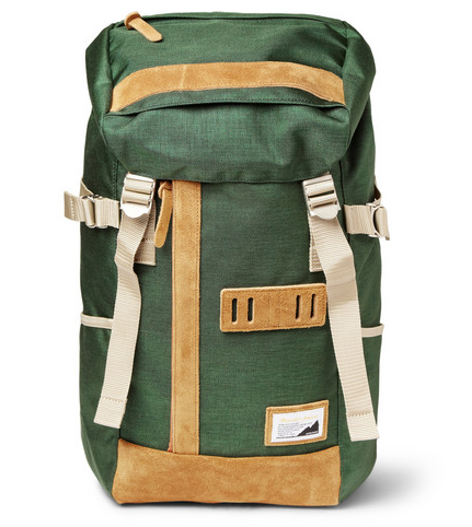 MASTER-PIECE OVER SUEDE-TRIMMED NYLON BACKPACK $315