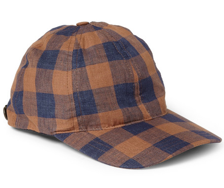 A.P.C Leather-Trimmed Check Linen Baseball Cap $95