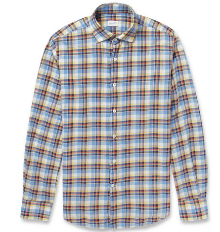 Incotex Slim-Fit Check Lightweight Cotton-Twill Shirt $310