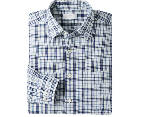 Uniqlo Men Premium Linen Check Long Sleeve Shirt $29.90