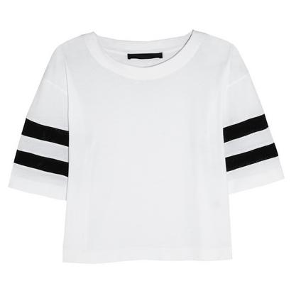 Karl Lagerfeld Jessica Mesh-Striped Cotton-Jersey T-Shirt $115