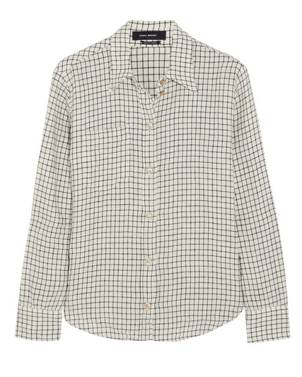 Isabel Marant Dully Checked Linen and Cotton-Blend Shirt $380