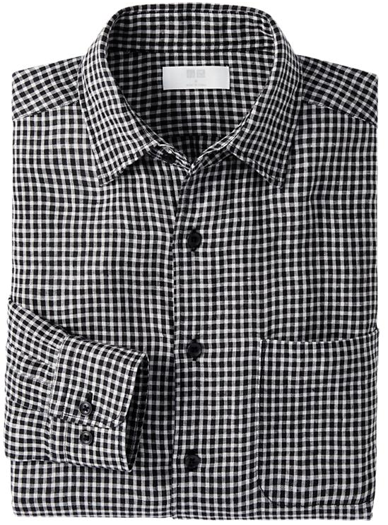 Men Premium Linen Check Long Sleeve Shirt $29.90
