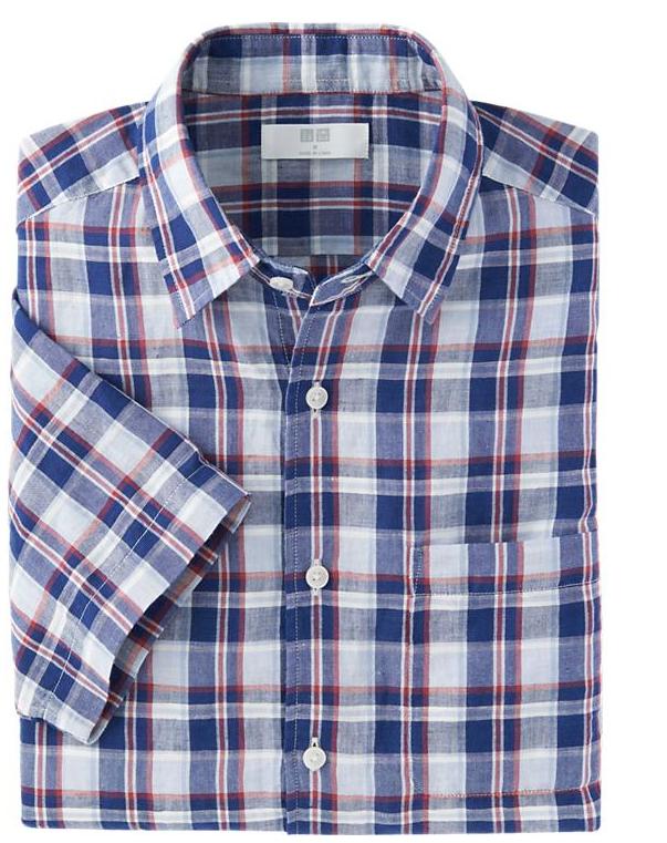 Men Linen Cotton Check Short Sleeve Shirt $29.90