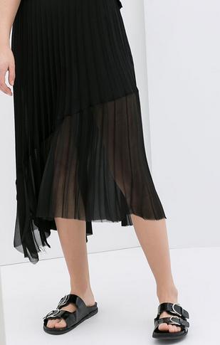 Zara Asymmetric Fine Pleated Skirt $79.90