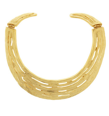 Kenneth Jay Lane Hammered Gold-Plated Bib Necklace $200