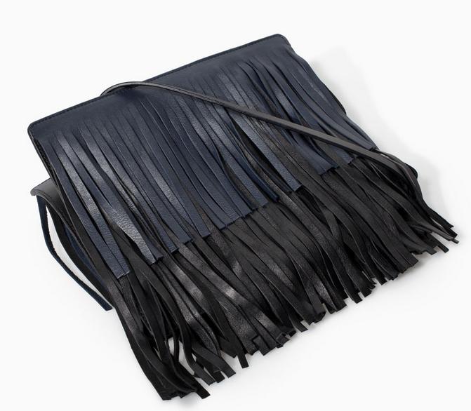 Zara Leather Messenger Bag with Fringing $129