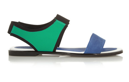 KENZO Color-Block Leather and Neoprene Sandals $250