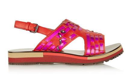 Lanvin Holographic Woven Leather Sandals $990