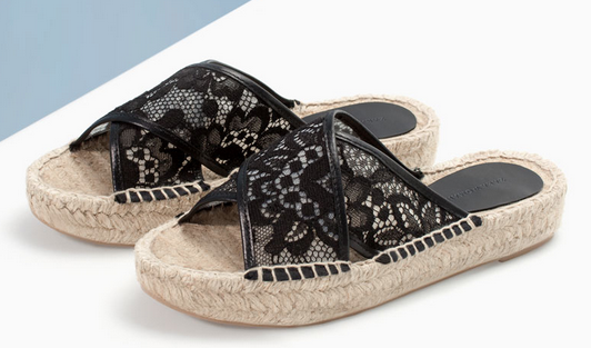 Zara Lace Sandal with Espadrille Sole $79.90
