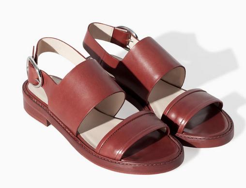 Zara Flat Leather Sandal with Buckle $129