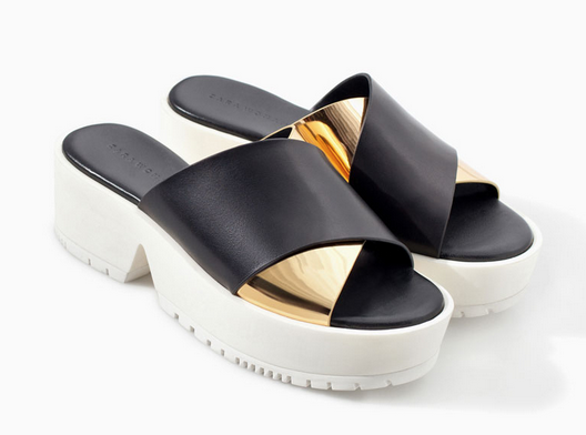 Zara Leather Cross Over Sandal with Platform Sole $99.90