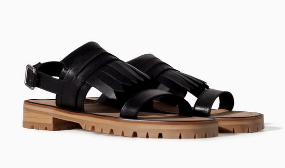 Zara Leather Sandals with Fringes $99.90