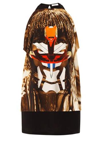 Givenchy Masai Face-Print Jersey Dress $1199