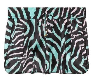 JUST CAVALLI Zebra-print silk shorts $335