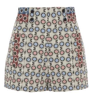 ANNA SUI High-rise daisy-brocade shorts $275