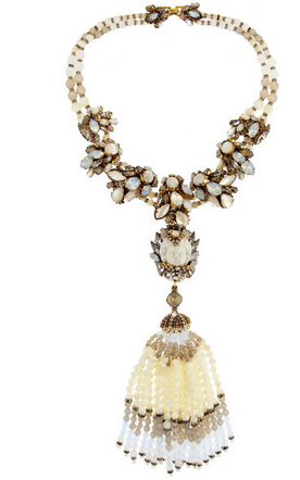 ERICKSON BEAMON Weeping Angel gold-plated, bead and crystal tassel necklace $2,395