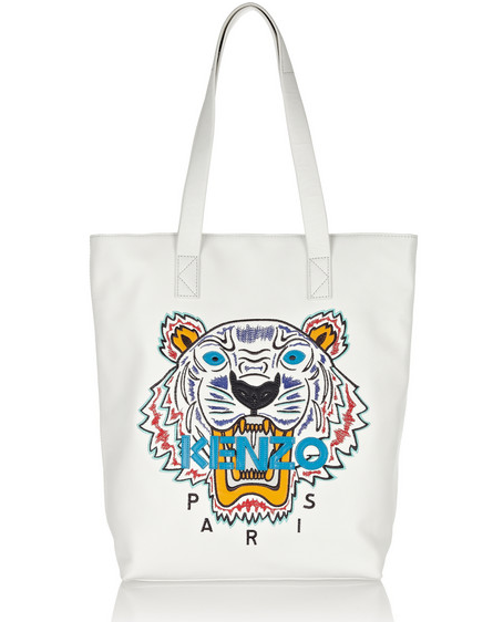 KENZO Tiger embroidered leather tote $685