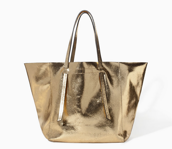 Zara Crackled Leather Shopper $179