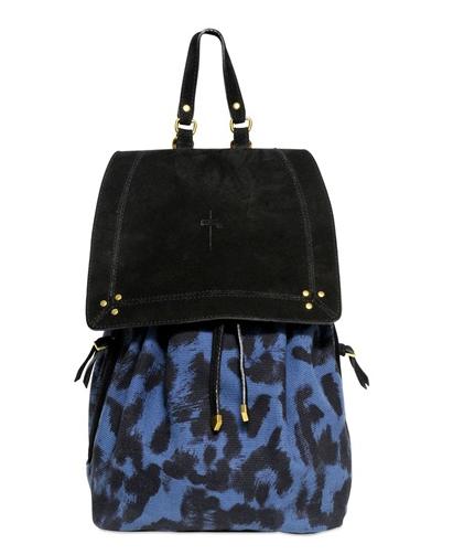 JEROME DREYFUSS Florent Leopard Printed Canvas Backpack $490