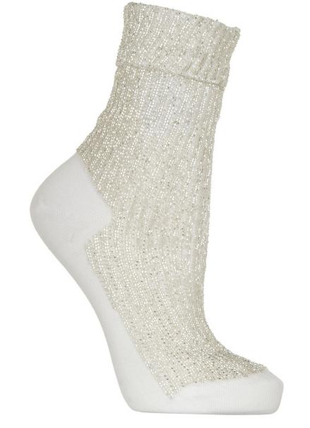 SAINT LAURENT Beaded cotton ankle socks $595