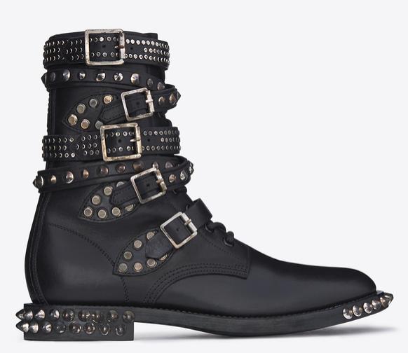 SAINT LAURENT Signature Rangers Studded Punk Sole Boots in Black Leather $ 2,395.00