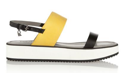 KARL LAGERFELD Color-block Matte-Leather Sandals $315