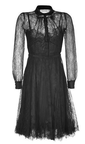 VALENTINO Black Belted Silk Lace Dress $3,944