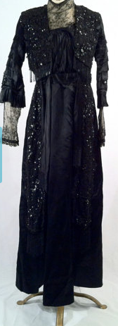 Antique Edwardian Black Silk, Lace and Beaded Gown Stunning Dress in Excellent Condition $725