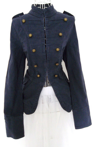 Vintage 1980s womens fitted Gothic Military Napoleon jacket Steampunk Russian Renaissance Victorian Blue coat $56