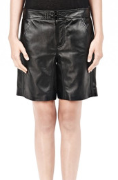 ALEXANDER WANG Black Lightweight Leather Boardshorts $368