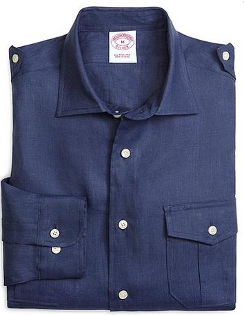 Brooks Brothers Regular Fit Navy Safari Linen Sport Shirt $105