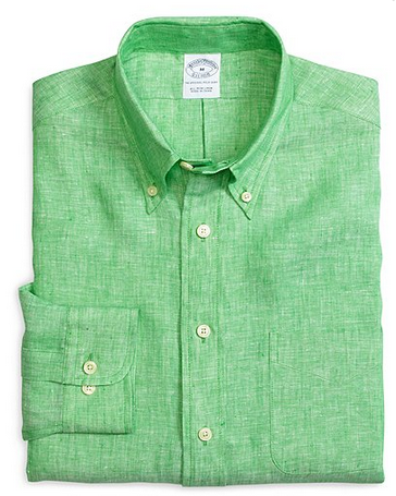 Brooks Brothers Slim Fit Solid Linen Sport Shirt $105
