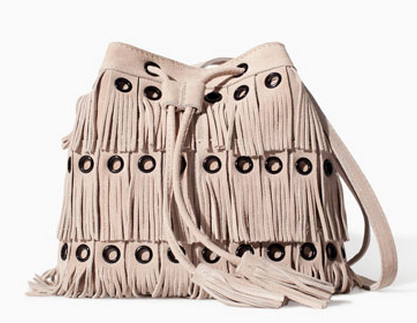 Zara Suede Fringe Bucket Bag $99