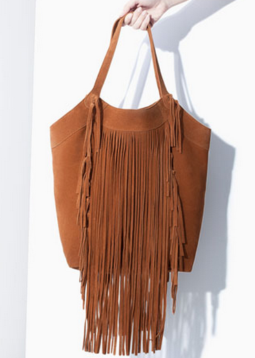Zara Fringed Leather Shopper $129
