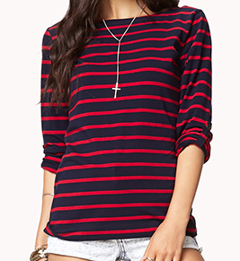 Forever 21 Striped Boat Neck Tee $10.80