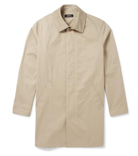 APC Faux Suede-Trimmed Cotton Blend Raincoat $470