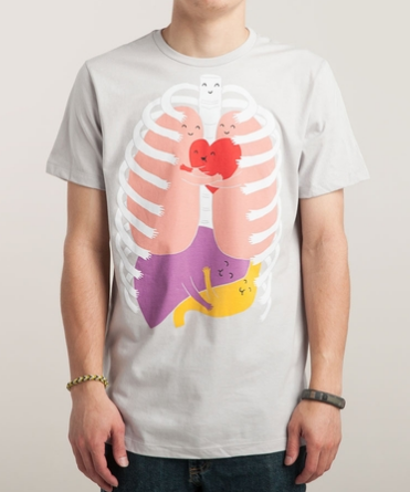Threadless HUGS KEEP US ALIVE! Design by Lim Heng Swee Graphic T-Shirt $25