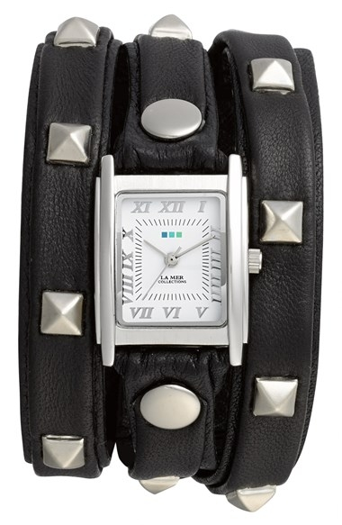 La Mer Collections Pyramid Stud Leather Wrap Watch, 23mm x 30mm Black/ Silver $110