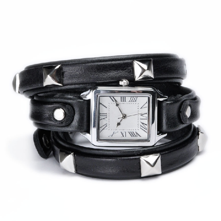 Wrap Tank Watch Pyramid Studs Black $92